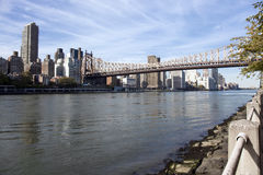 Manhattan East side and Queensboro bridge Royalty Free Stock Image