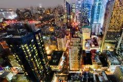 Manhattan em a noite Foto de Stock Royalty Free