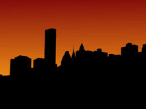 Manhattan en la puesta del sol Imágenes de archivo libres de regalías