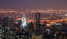manhattan för byggnadschrysler stad ny natt york Fotografering för Bildbyråer