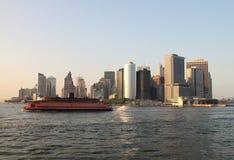 Manhattan ferry. Lower Manhattan and ferry to Staten island Royalty Free Stock Photo