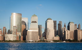 Manhattan Financial District from Jersey city Stock Photography