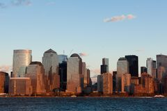 Manhattan Financial District at sunset from Jersey Royalty Free Stock Images