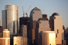 Manhattan Financial District at sunset from Jersey Stock Image