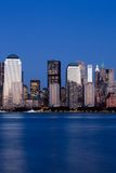 Manhattan Financial District at sunset from Jersey Stock Photo
