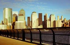 Manhattan-Finanzbezirk am Sonnenuntergang Lizenzfreies Stockfoto