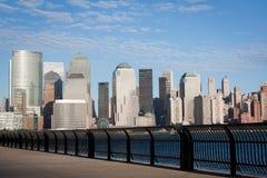 Manhattan-Finanzbezirk vom Jersey City Lizenzfreies Stockfoto