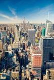Manhattan flyg- sikt Royaltyfria Bilder