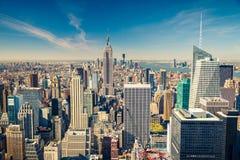Manhattan flyg- sikt Royaltyfri Bild