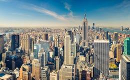Manhattan flyg- sikt Fotografering för Bildbyråer