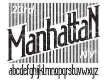 Manhattan font set. Manhattan - modern thin line font. Minimalistic typeface. Alphabet letters and numbers Royalty Free Stock Photos
