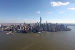 Manhattan från över, USA Arkivbilder