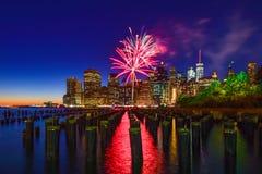 Manhattan fyrverkeri Royaltyfri Bild