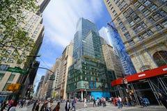 Manhattan genomskärning och skyskrapor, New York City Arkivfoton