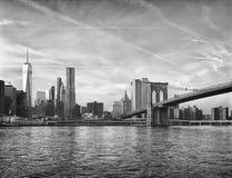 Manhattan. HDR black and white view of Manhattan skyline with Brooklyn Bridge Stock Photo