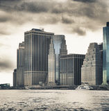 Manhattan HDR. HDR view of buildings of Lower Manhattan from East River Stock Images