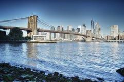 Manhattan. HDR view of Manhattan skyline with Brooklyn Bridge Royalty Free Stock Photography