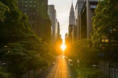 Manhattan Henge. Every year the Manhattan Henge is rising stock photo