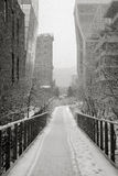 Manhattan Highline in winter, NYC. Chelsea Highline is Manhattans aerial greenway. View of the Highline during a snowfall. Urban view of Chelseas linear park in Royalty Free Stock Images