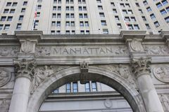 Manhattan. Historic New York sign greeting newcomers to Manhattan island Royalty Free Stock Photos