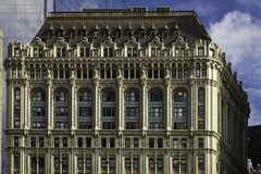 Manhattan historical building facade closeup royalty free stock image