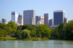 Manhattan horisont och Central Park Royaltyfria Foton