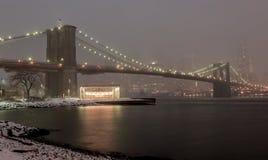 Manhattan horisont, snöstorm Arkivbilder