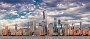 manhattan horisont stad New York royaltyfri bild