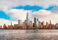 Manhattan horisontpanorama, New York City arkivbild