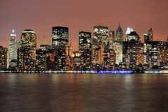 Manhattan after hours. This is a shot of Manhattan taken at night. The image was shot on the Jersey side of the Hudson river. The image is a wide angle shot. It Royalty Free Stock Images