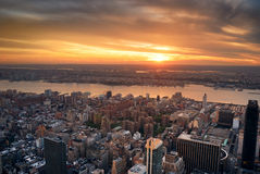 Manhattan Hudson River sunset Royalty Free Stock Photo