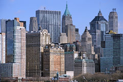 Manhattan i stadens centrum horisont Royaltyfria Foton