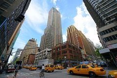 Manhattan Intersection and Skyscrapers, New York City Royalty Free Stock Photography