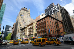 Manhattan Intersection and Skyscrapers Stock Photography