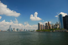 Manhattan and Jersey City, USA. Manhattan and Jersey City skyline seen from the New York harbor stock photos