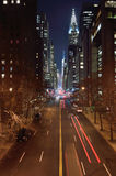 Manhattan la nuit Images libres de droits