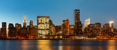 Manhattan. Late evening New York City skyline panorama Royalty Free Stock Photos