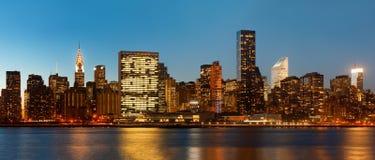 Manhattan. Late evening New York City skyline panorama royalty free stock photos