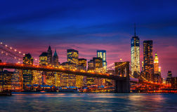 Manhattan with lights and reflections Stock Images