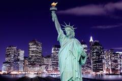 Manhattan linia horyzontu i statua wolności Obraz Royalty Free