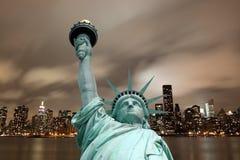 Manhattan linia horyzontu i statua wolności Obraz Stock