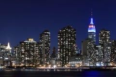 Manhattan linia horyzontu Przy nocą, Miasto Nowy Jork Zdjęcia Stock