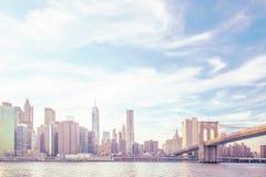 Manhattan linii horyzontu highkey Zdjęcie Stock