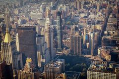Manhattan Midtown buildings top view, toned image royalty free stock images