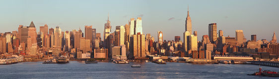 Manhattan midtown panoramic view Royalty Free Stock Images