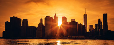 Manhattan midtown at sunset Stock Images