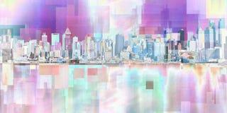Manhattan. Modern art. New York cityscape. Manhattan. 3D rendering Stock Photos