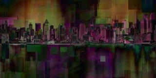 Manhattan. Modern art. New York cityscape. Manhattan. 3D rendering Stock Images