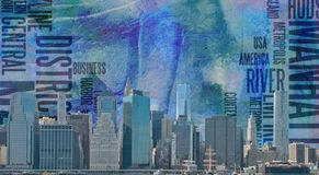 Manhattan. Modern art. NYC Landscape. Manhattan harbor. This image created in entirety by me and is entirely owned by me and is entirely legal for me to sell and Stock Photography