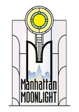 Manhattan Moonlight. A color illustration in art deco style - a stained glass window with a view of the Manhattan skyline Royalty Free Stock Photos